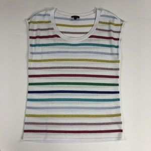 Talbots Women's White with Stripes Top M